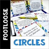Circles Task Cards - Footloose Math Game | Pi Day Activity