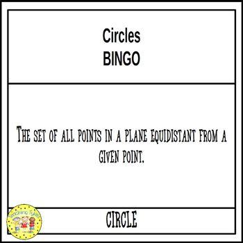 Circles Geometry BINGO