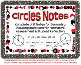Circles Guided Notes for Geometry (Complete Unit)