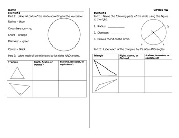 Circles Homework Practice
