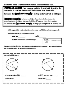 Circles & Inscribed Angles Partner Paper