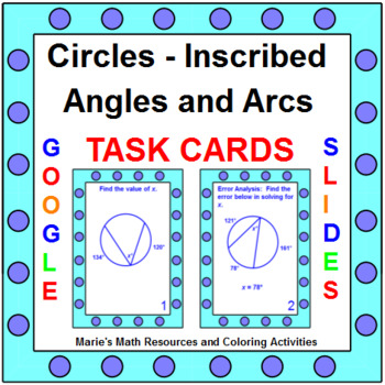 Circles - Inscribed Angles - TASK Cards (20 cards)