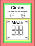 Circles - Inscribed and Central Angle MAZE and 3 PARCC Practice problems (G.C.2)