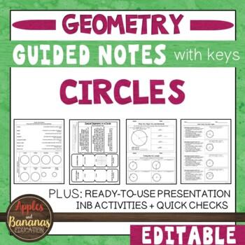 Circles -  Interactive Notebook Activities