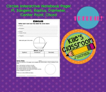 Circles Interactive Notebook Page and Exit Slip