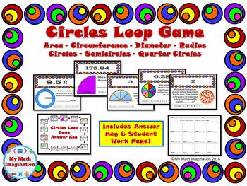 Circles Loop Game - Area, Circumference, Radius, Diameter,