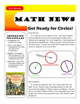 Circles Newsletter for 3rd Grade