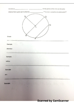 Circles Notes and Quiz