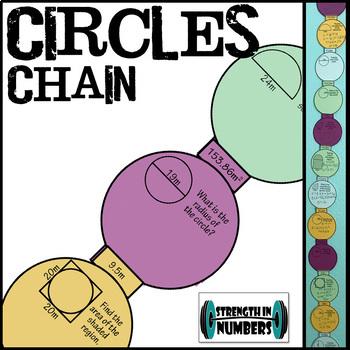 Circles Paper Chain for Display - Area Circumference Pi Day
