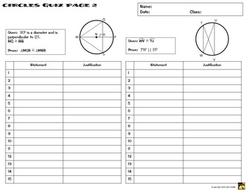 Circles Proofs - Two Column Proof Practice and Quiz