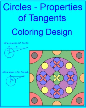 Circles - Properties of Tangents Coloring Activity (2 coloring choices)