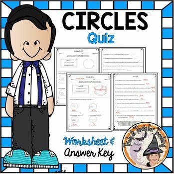 Circles QUIZ Radius Diameter Circumference with Answer KEY Circle Geometry