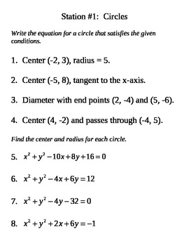 Circles, Quadratics, & Conic Systems Stations with Key