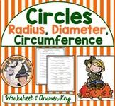 Circles Radius Diameter Circumference Practice Worksheet Geometry Circle