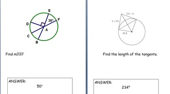 Circles Review - Central/Inscribed Angles, Secants/Tangent