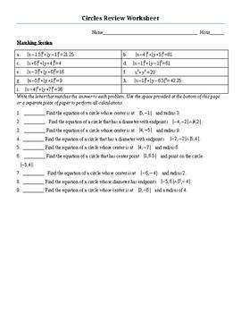 Circles Review WKS (Algebra 2 or Pre Calc Level)