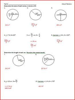 Circles: Sectors and Arcs (WS)