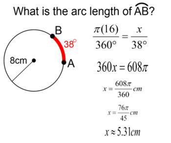 Circles - Line Segments, Arc Length & Sector Area for PDF