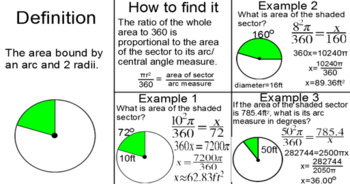 Circles - Line Segments, Arc Length & Sector Area for PDF