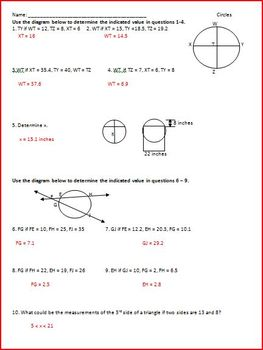 Circles: Segments and Angles (WS)