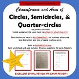 Circles, Semicircle, Quarter Circle - Circumference & Area