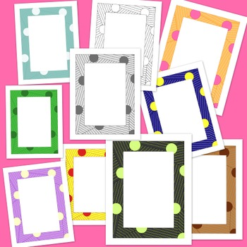 Circles Squiggles Frames Clip Art PNG JPG Blackline Included Commercial Personal