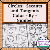 Circles - Tangent and Secant Lines in Circles Color-By-Number Worksheet