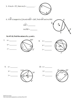 Circles Tangents Arcs Inscribed Angles Printables Practice Geometry Worksheets