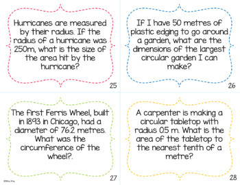 Circles Task Cards - Circumference and Area