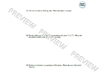Circles Test & Answer Key