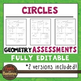 Circles Tests - Geometry Editable Assessments