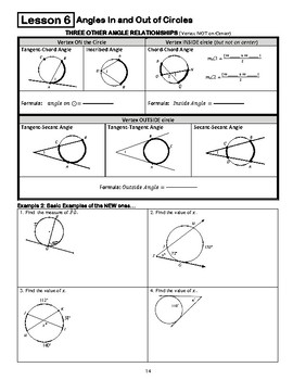 Circles Unit - Guided Notes
