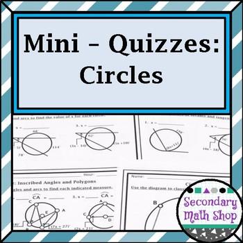 Circles Unit  Mini-Quizzes
