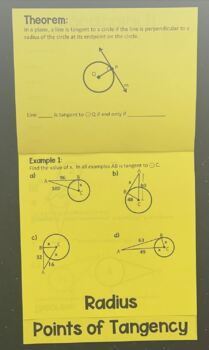 Circles & Using Properties of Tangents (Geometry Foldable)