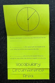 Circles (Vocabulary, Circumference, Area) Math Foldable