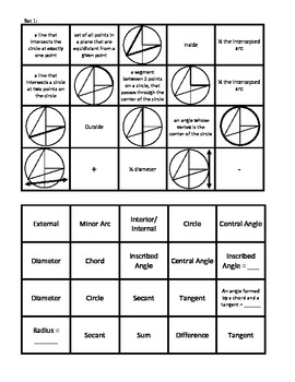 Circles: Vocabulary Matching Review/Practice Activity