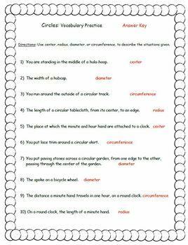 Circles Vocabulary Practice Center Pi Radius Diameter Circumference w/Answer KEY