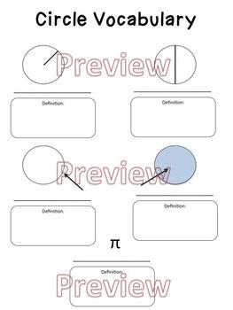Circles Vocabulary Worksheet, Homework or Quiz by Hunka Learnin' Love