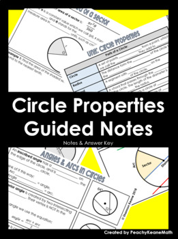Circles Properties Guided Notes BUNDLE