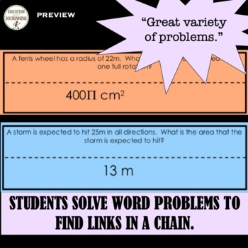 Area and Circumference Circles Word Problems Paper Chain Activity