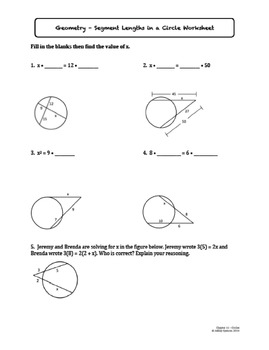 Circles Worksheet Bundle