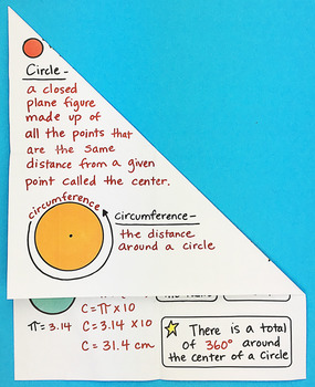 Circles and Circumferences Foldable by Math Doodles