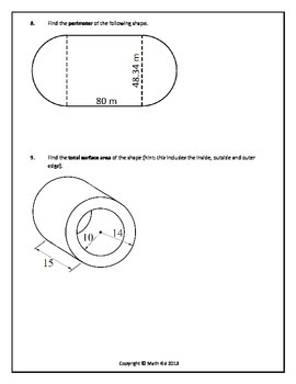 Circles and Cylinders: Assessment
