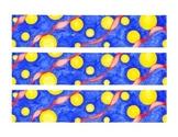 Circles and Ribbons Watercolor Bulletin Board Border Printable Full Color PDF