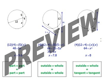 Circles and Segment Relationships: Foldable