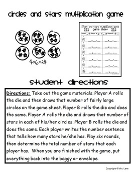 Circles and Stars Multiplication Activities