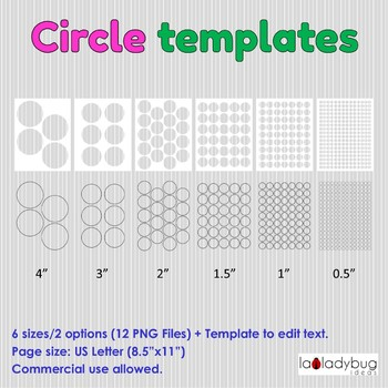 Circles Templates Clip Art For Commercial Use Round Label Template 6 Sizes