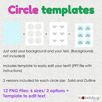 Circles templates. Clip art for commercial use. Round label template. 6 sizes.
