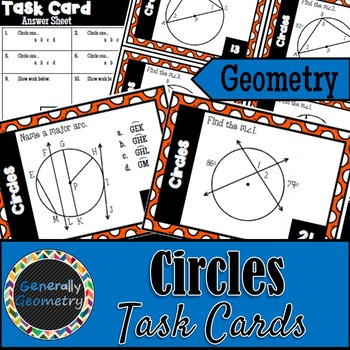 Circles Task Cards; Geometry