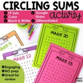 Math Fact Fluency Sums to 20-Circle the Sum Addition Games
